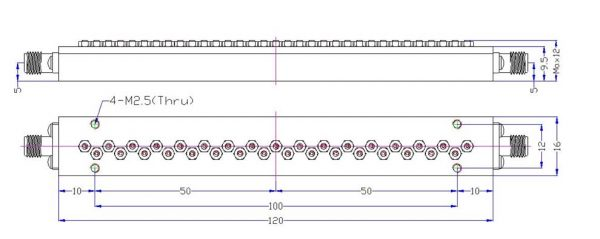 Bandpass Filter From 10.352GHz To 11.818GHz With SMA-Female Connectors