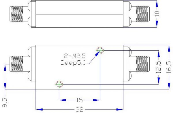 Bandpass Filter From 8GHz To 18GHz With SMA-Female Connectors