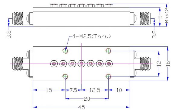 Bandpass Filter From 19.975GHz To 20.025GHz With SMA-Female Connectors