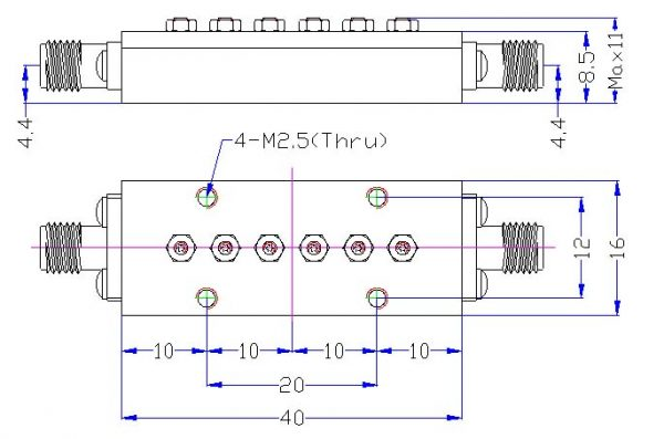 Bandpass Filter From 23.5GHz To 24.5GHz With SMA-Female Connectors