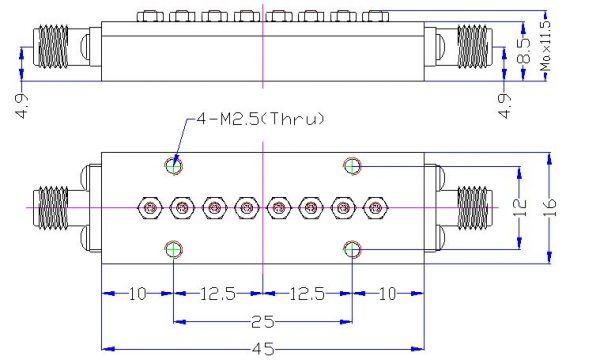Bandpass Filter From 24.25GHz To 27.50GHz With N-Type 2.92mm(K) M/F Connectors