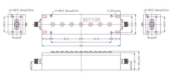 Bandpass Filter From 2.46GHz To 2.74GHz With SMA-Female Connectors