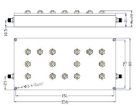 Bandpass Filter From 2.575GHz To 2.635GHz With SMA-Female Connectors