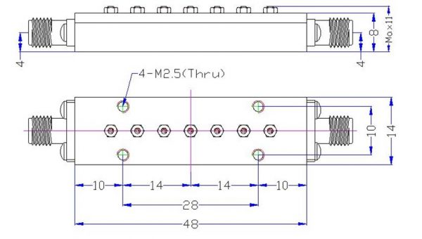 Bandpass Filter From 27GHz To 28GHz With N-Type 2.92mm(K) M/F Connectors