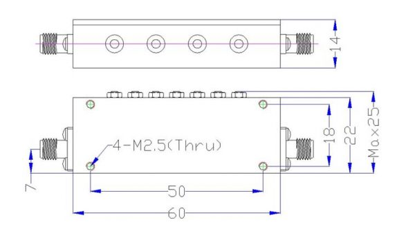 Bandpass Filter From 2.851GHz To 2.861GHz With SMA-Female Connectors