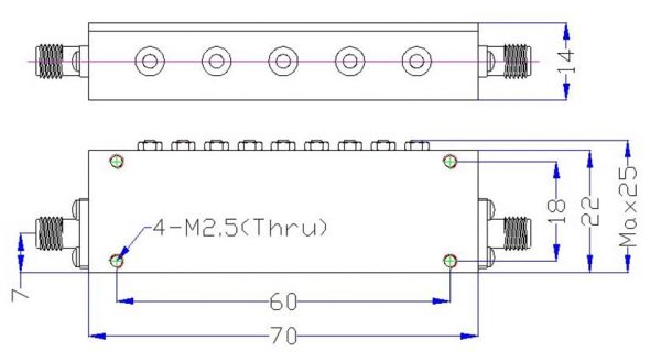 Bandpass Filter From 2.836GHz To 2.876GHz With SMA-Female Connectors