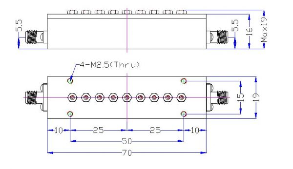 Bandpass Filter From 3.15GHz To 3.20GHz With SMA-Female Connectors