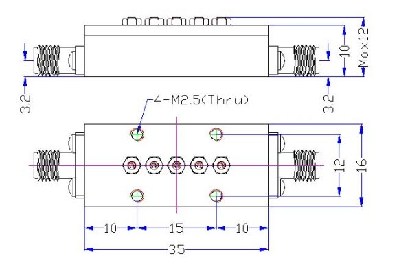 Bandpass Filter From 7.246GHz To 7.249GHz With SMA-Female Connectors