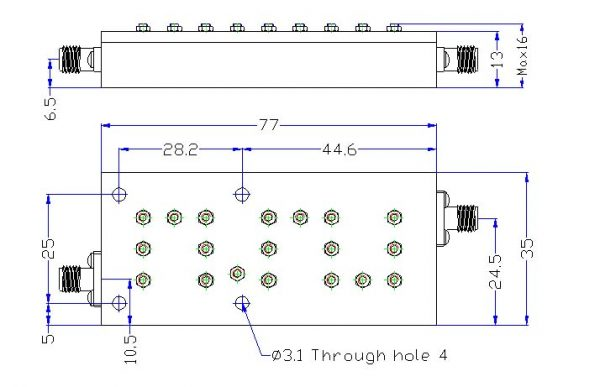 Bandpass Filter From 7.9GHz To 8.4GHz With SMA-Female Connectors