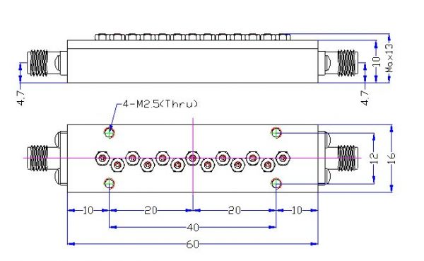 Bandpass Filter From 8.0GHz To 8.5GHz With SMA-Female Connectors