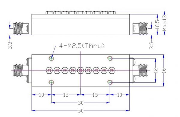 Bandpass Filter From 8.322GHz To 8.388GHz With SMA-Female Connectors