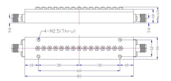 Bandpass Filter From 8.357GHz To 5.567GHz With SMA-Female Connectors