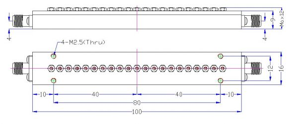 Bandpass Filter From 9.0GHz To 9.5GHz With SMA-Female Connectors 5W