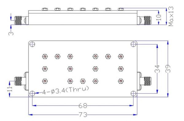 Bandpass Filter From 9.3GHz To 9.4GHz With SMA-Female Connectors dimensions