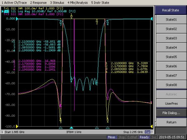 Band Recject Filter From 2110MHz To 2170MHz With SMA-Female Connectors