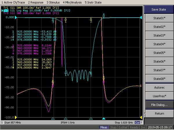 Band Recject Filter From 925MHz To 960MHz With SMA-Female Connectors