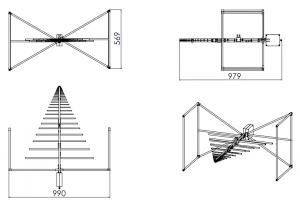 6dBi Gain, 0.025GHz to 7GHz, Bilogical Antenna  OLP-00270-B