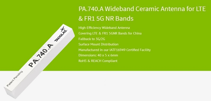 Ceramic Antenna for Global LTE and 5G Cellular Applications