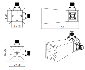 18 GHz to 40 GHz, 11 dBi to 17 dBi Gain,Dual Polarized Horn Antenna ,30 dB Isolation, K band to Ka band, 2.92mm Connectors