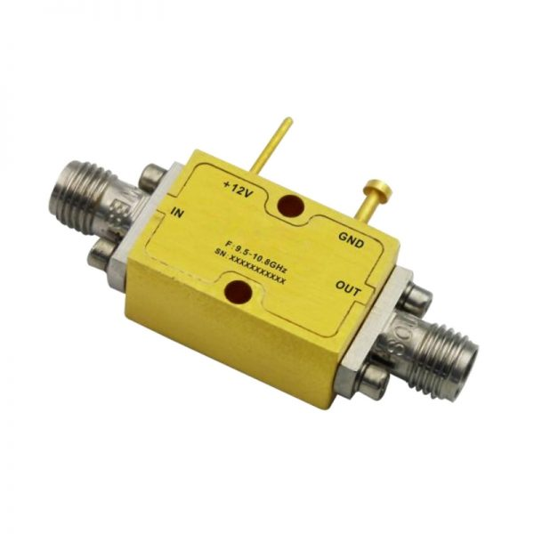 Ultra Wide Band Low Noise Amplifier From 9.5GHz to 10.8GHz With a Nominal 36dB Gain NF 2dB SMA Connectors
