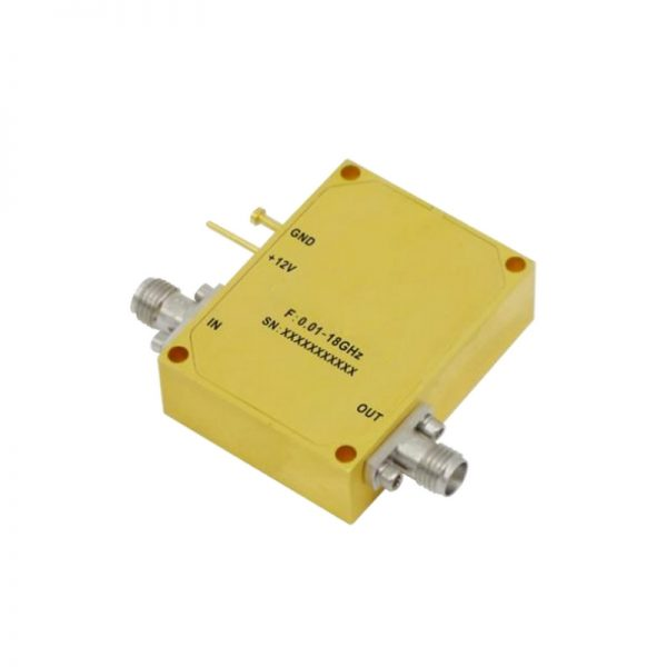 Ultra Wide Band Low Noise Amplifier From 0.01GHz to 18GHz With a Nominal 27dB Gain NF 3dB SMA Connectors