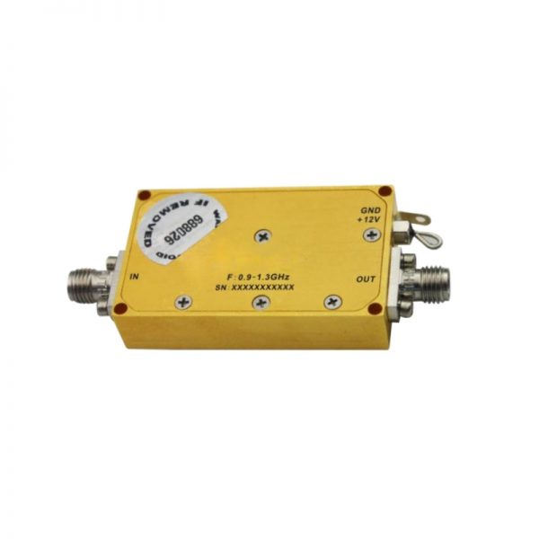 Ultra Wide Band Low Noise Amplifier From 0.9GHz to 1.3GHz With a Nominal 39dB Gain NF 1.2dB SMA Connectors