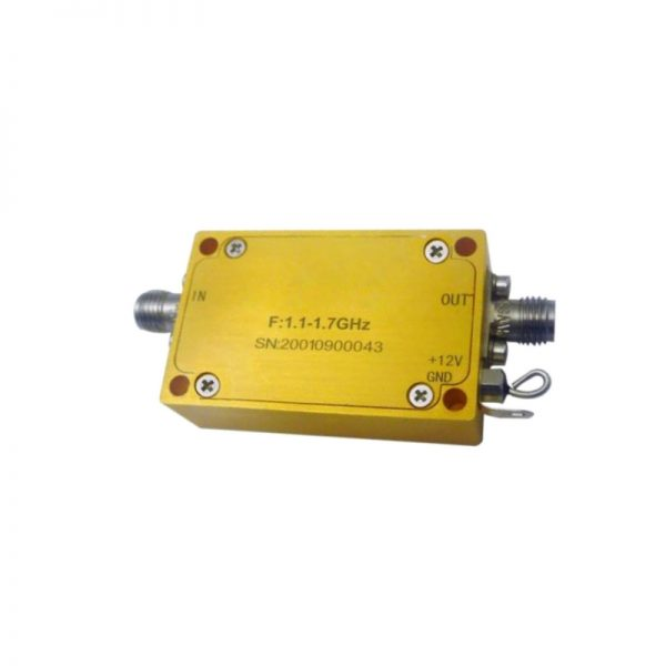 Ultra Wide Band Low Noise Amplifier From 1.1GHz to 1.9GHz With a Nominal 34dB Gain NF 1.3dB SMA Connectors
