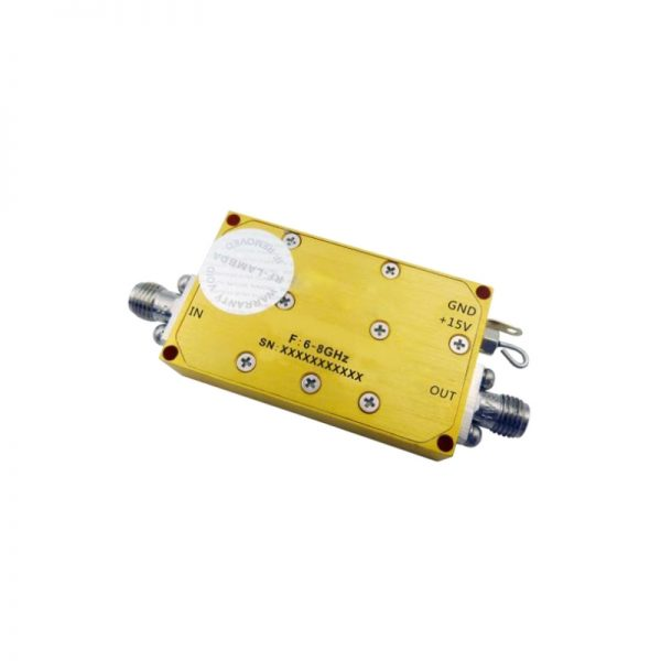 Ultra Wide Band Low Noise Amplifier From 6GHz to 8GHz With a Nominal 45dB Gain NF 2dB SMA Connectors