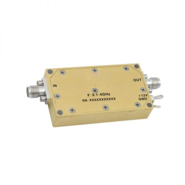 Ultra Wide Band Low Noise Amplifier From 0.1GHz to 4GHz With a Nominal 34dB Gain NF 2.5dB SMA Connectors