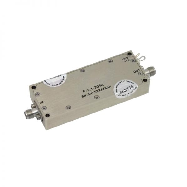 Ultra Wide Band Low Noise Amplifier From 0.1GHz to 3GHz With a Nominal 33dB Gain NF 2.5dB SMA Connectors