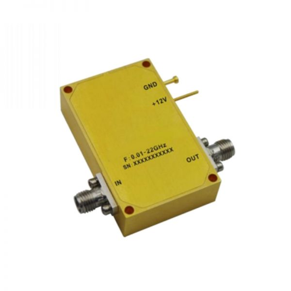 Ultra Wide Band Low Noise Amplifier From 0.01GHz to 22GHz With a Nominal 29dB Gain NF 3.5dB SMA Connectors