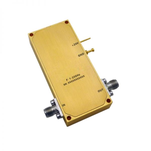 Ultra Wide Band Low Noise Amplifier From 1GHz to 23GHz With a Nominal 27dB Gain NF 5dB SMA Connectors