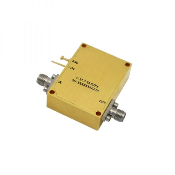 Ultra Wide Band Low Noise Amplifier From 21.7GHz to 24.5GHz With a Nominal 34dB Gain NF 2.2dB SMA Connectors