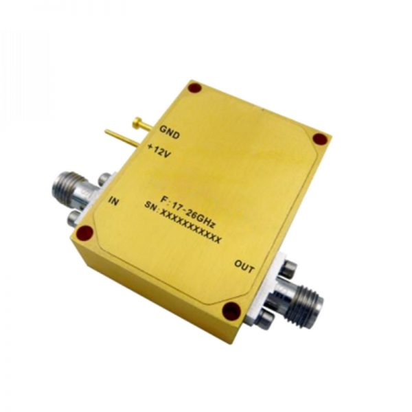 Ultra Wide Band Low Noise Amplifier From 17GHz to 26GHz With a Nominal 28dB Gain NF 2.4dB SMA Connectors