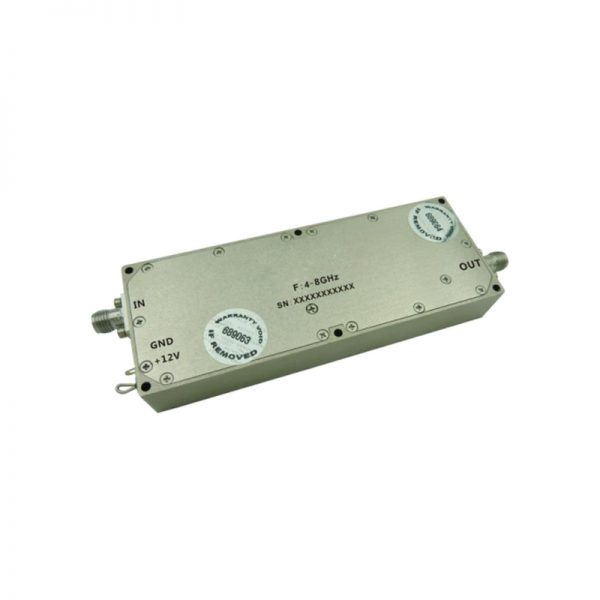 Ultra Wide Band Low Noise Amplifier From 4GHz to 8GHz With a Nominal 46dB Gain NF 2.5dB SMA Connectors