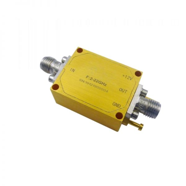 Ultra Wide Band Low Noise Amplifier From 2GHz to 22GHz With a Nominal 29dB Gain NF 3dB SMA Connectors
