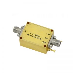 Ultra Wide Band Low Noise Amplifier From 3GHz to 22GHz With a Nominal 24dB Gain NF 5dB SMA Connectors