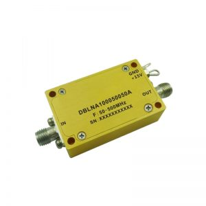 Ultra Wide Band Low Noise Amplifier From 0.05GHz to 0.5GHz With a Nominal 50dB Gain NF 0.8dB SMA Connectors