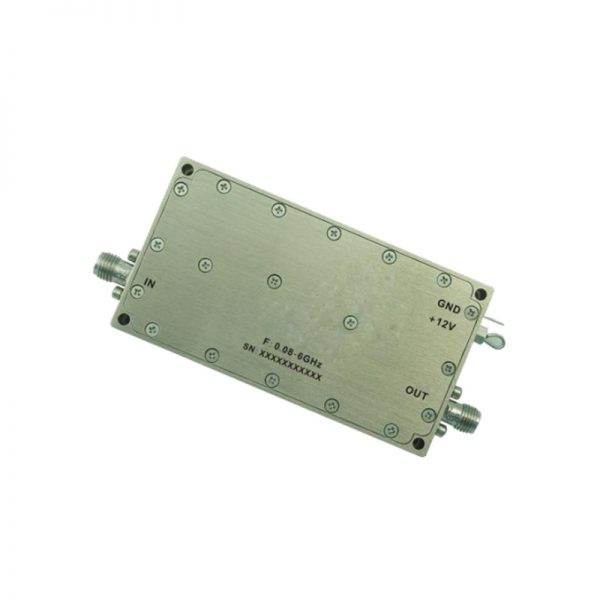 Ultra Wide Band Low Noise Amplifier From 0.08GHz to 6GHz With a Nominal 46dB Gain NF 3dB SMA Connectors
