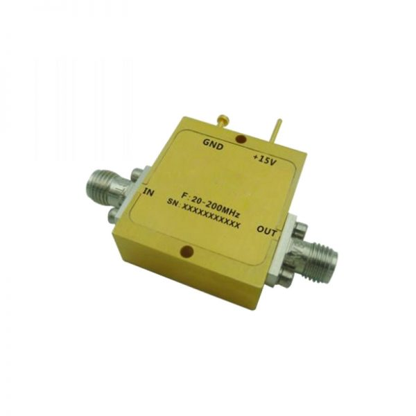 Ultra Wide Band Low Noise Amplifier From 0.02GHz to 0.2GHz With a Nominal 32dB Gain NF 2.5dB SMA Connectors