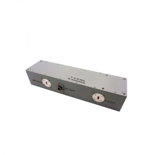 Ultra Wide Band Low Noise Amplifier From 18GHz to 26.5GHz With a Nominal 53dB Gain NF 2.2dB WR42 Connectors
