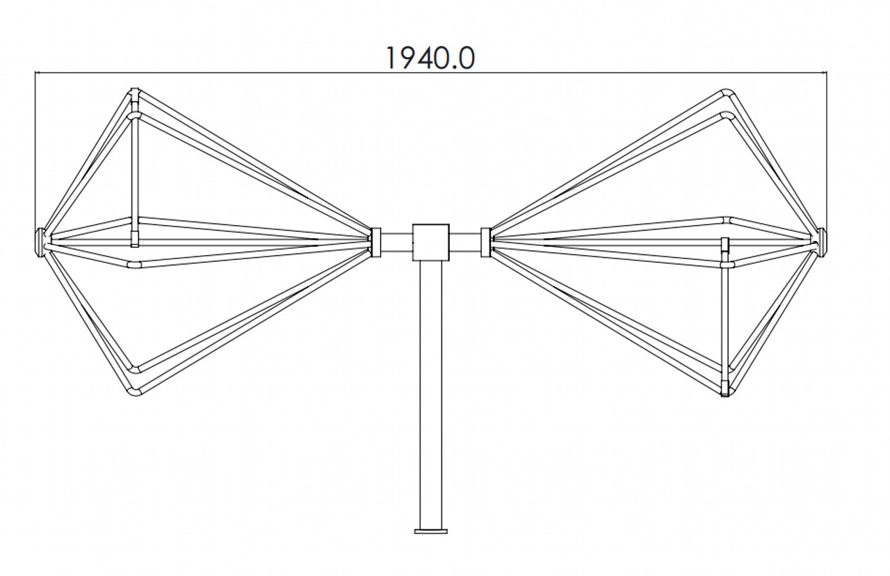 20 MHz to 200 MHz, N Female, 3KW EMC Biconical Antenna