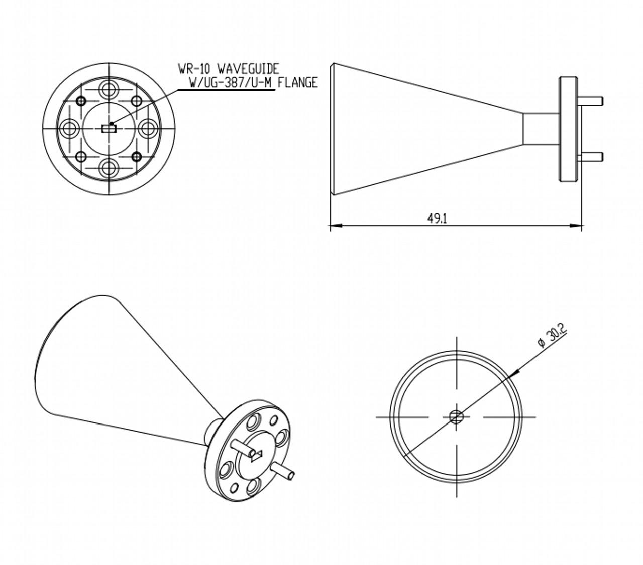 "15 dBi Gain, 87 GHz to 100 GHz, 0.1"" Diameter Circular Waveguide WR-10 Waveguide W Band Conical Horn Antennas"