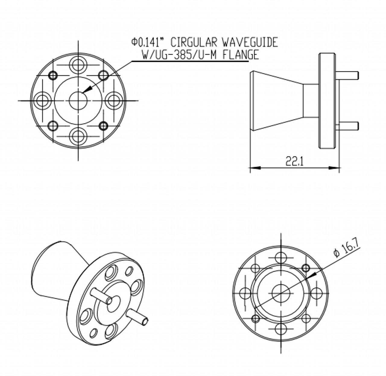 WR-141 - Circular Waveguide - V Band - Conical Horn Antenna - 15dBi