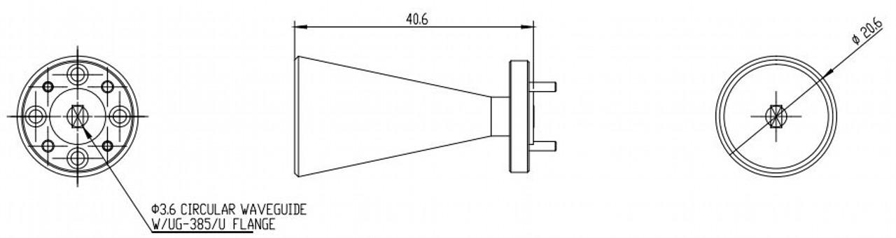 WR-141 - Circular Waveguide - V Band - Conical Horn Antenna - 20 dBi Gain