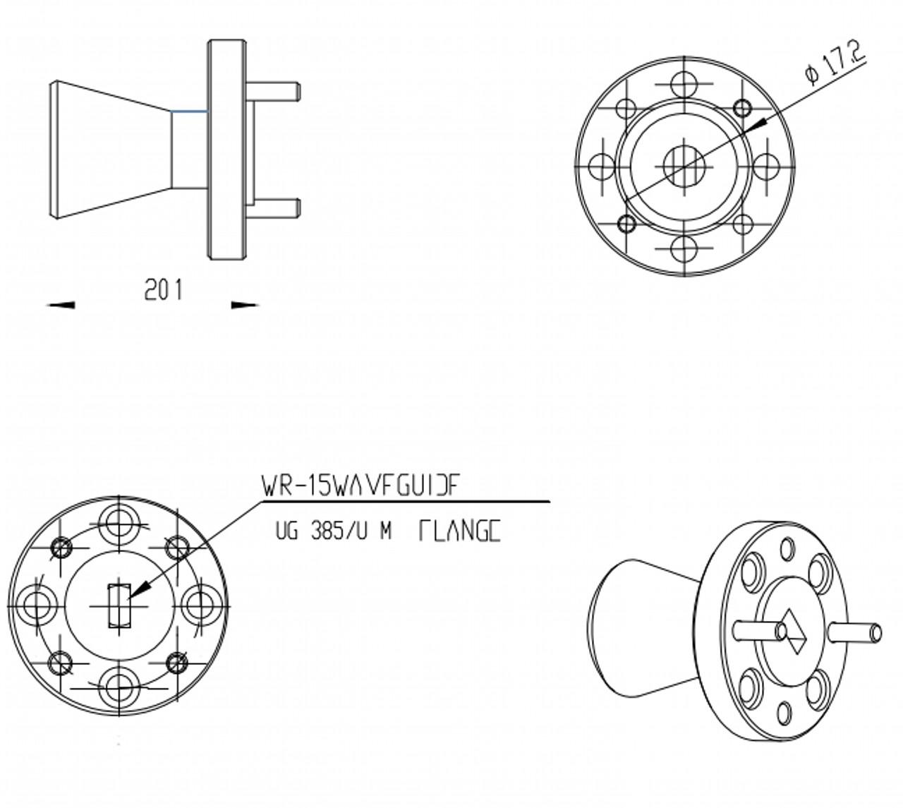 "15 dBi Gain, 43 GHz to 50 GHz, 0.188"" Diameter Circular Waveguide WR-188 Waveguide U Band Conical Horn Antennas"