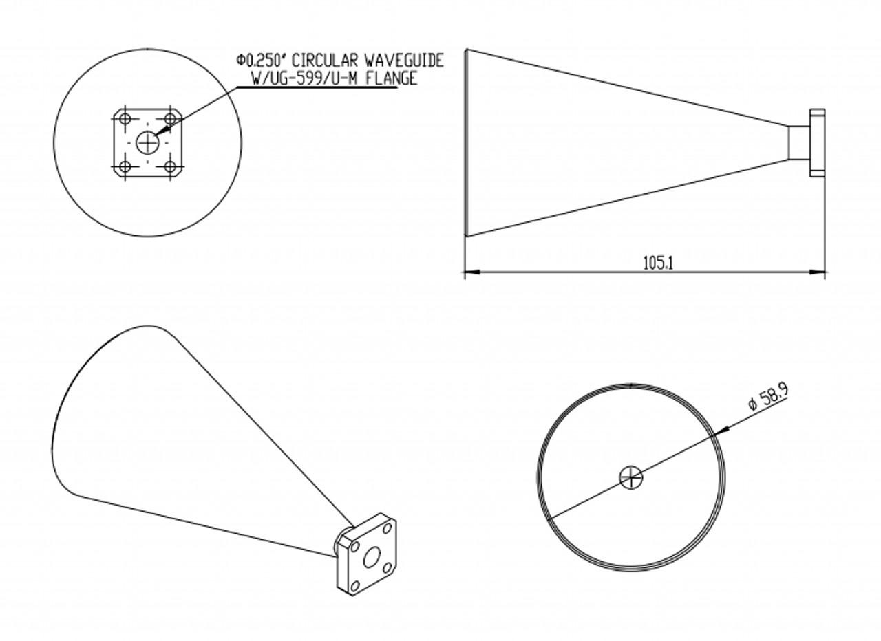 WR-396 - Circular Waveguide - K Band - Conical Horn Antenna
