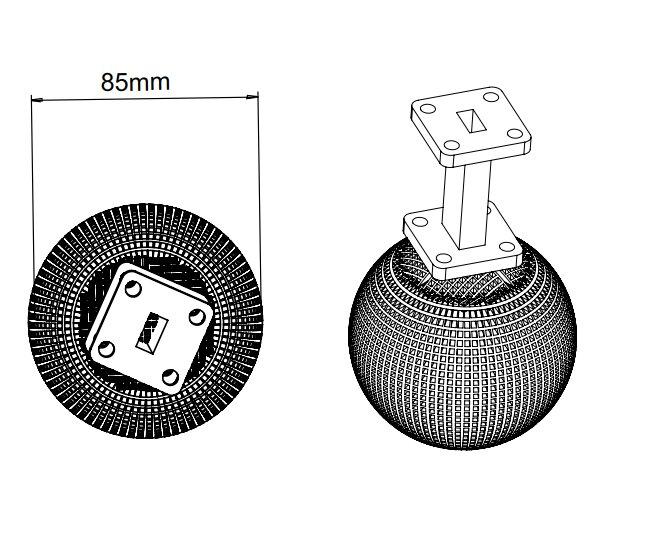 15 dBi Gain, 14.5 GHz to 20 GHz, 20 dB Return Loss, Luneburg Lens Antenna