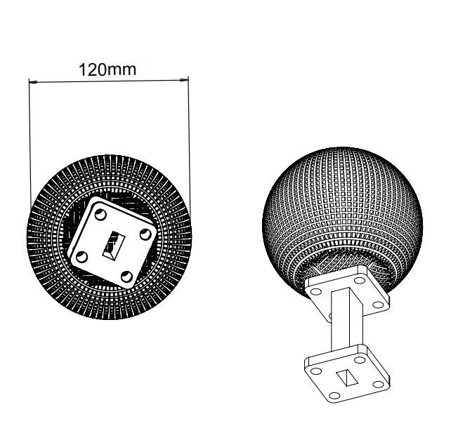 15 dBi Gain, 8.2 GHz to 12.5 GHz, 20 dB Return Loss, Luneburg Lens Antenna
