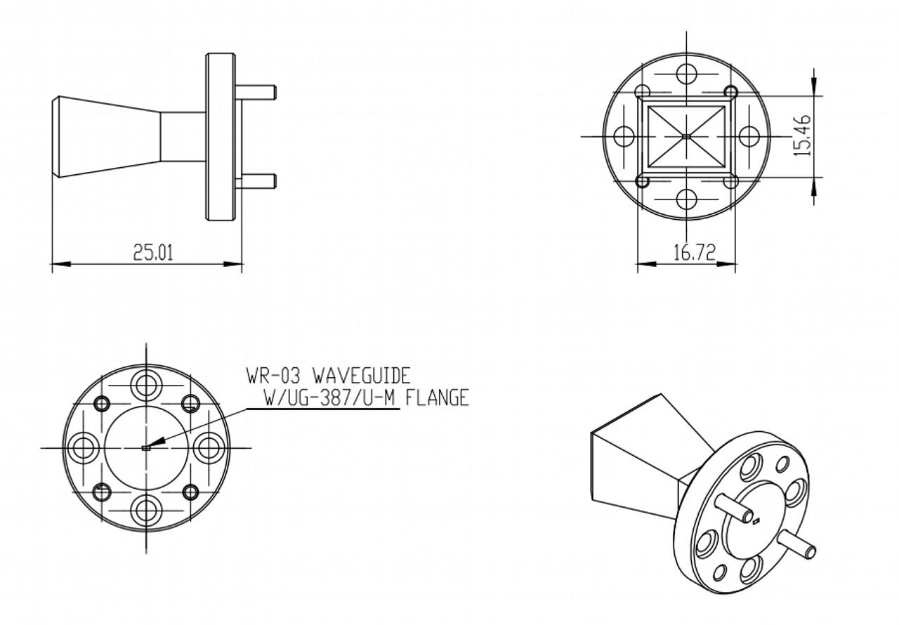 25 dBi Gain, 220 GHz to 325 GHz, WR-03 Waveguide Millimeter SGH Antenna
